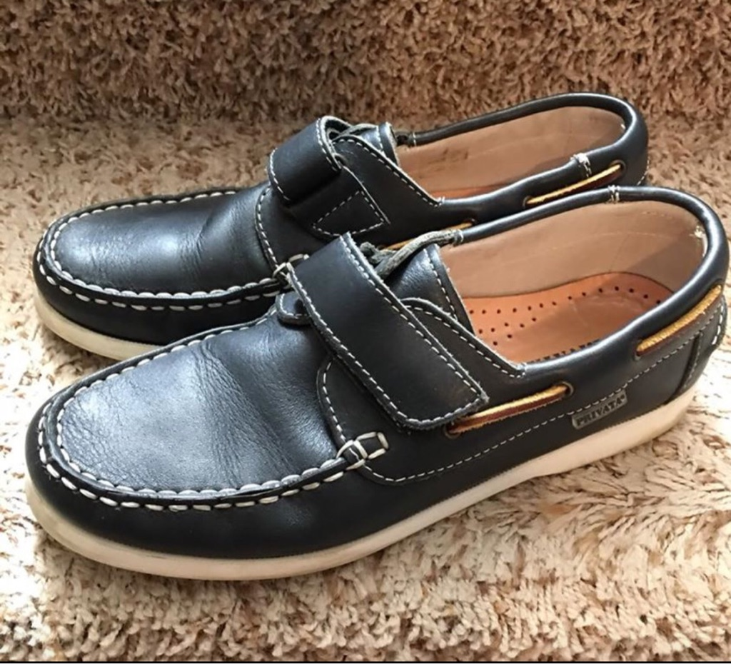 Boy's Navy Blue Leather Shoes, Size 3.5
