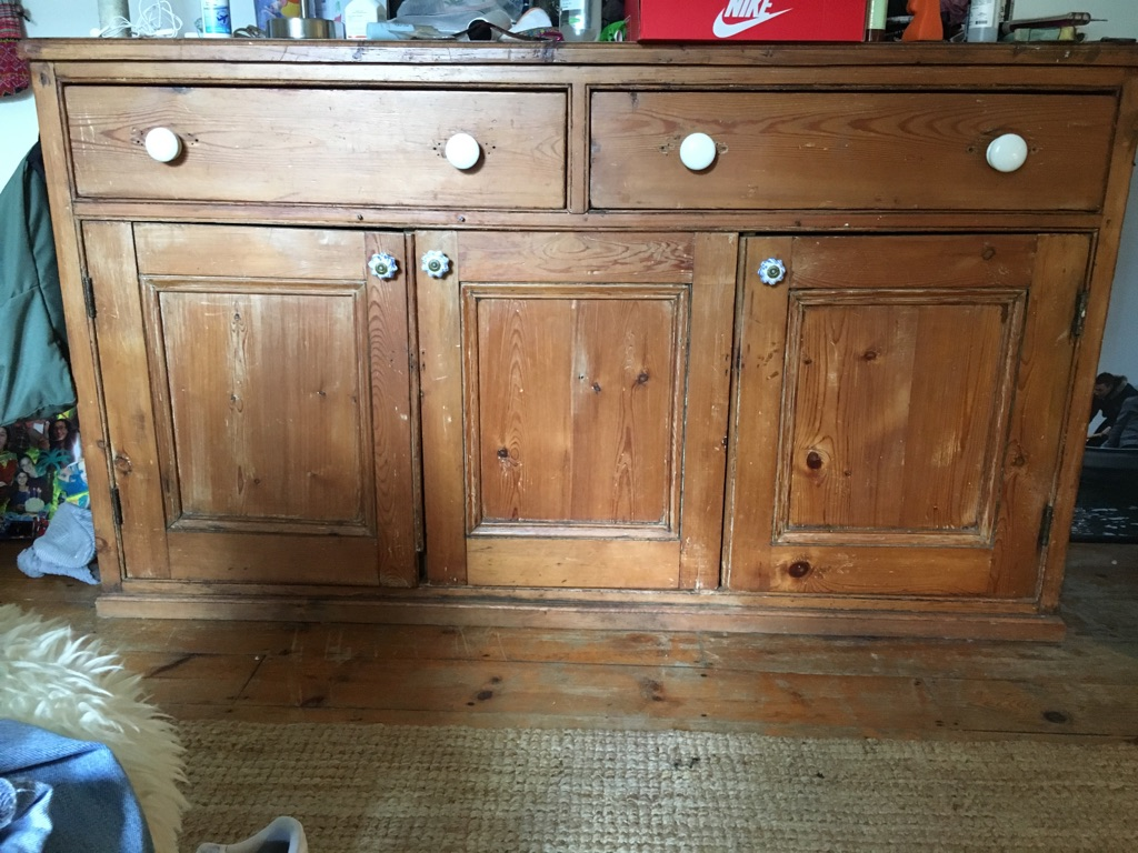Large, antique, pine chest of drawers