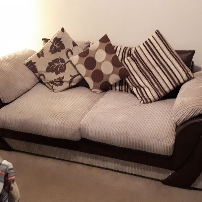 3 seater brown & cream sofa for sale (PRICE NEGOTIABLE)