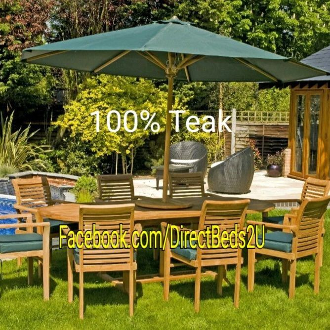 Solid teak garden dining table set
