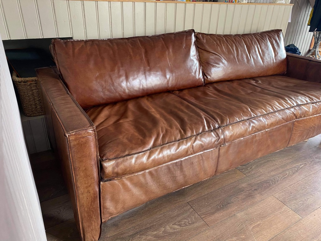 Ramsey style 4 seater leather sofa