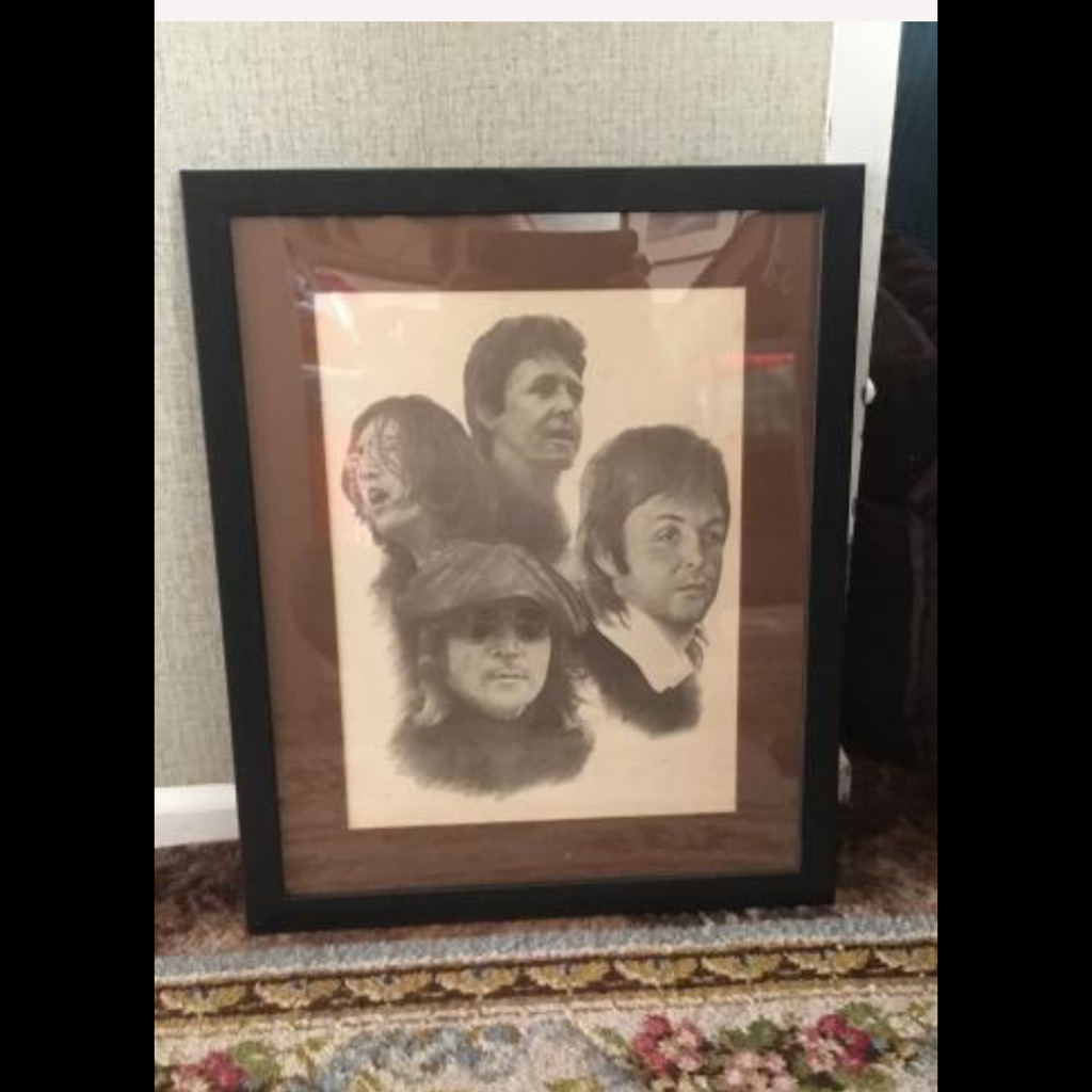 The Beatles Lennon McCartney drawing Signed Chaplan H22in W18