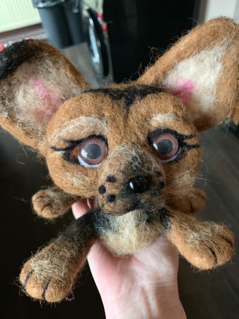 Handmade needle felted little dog