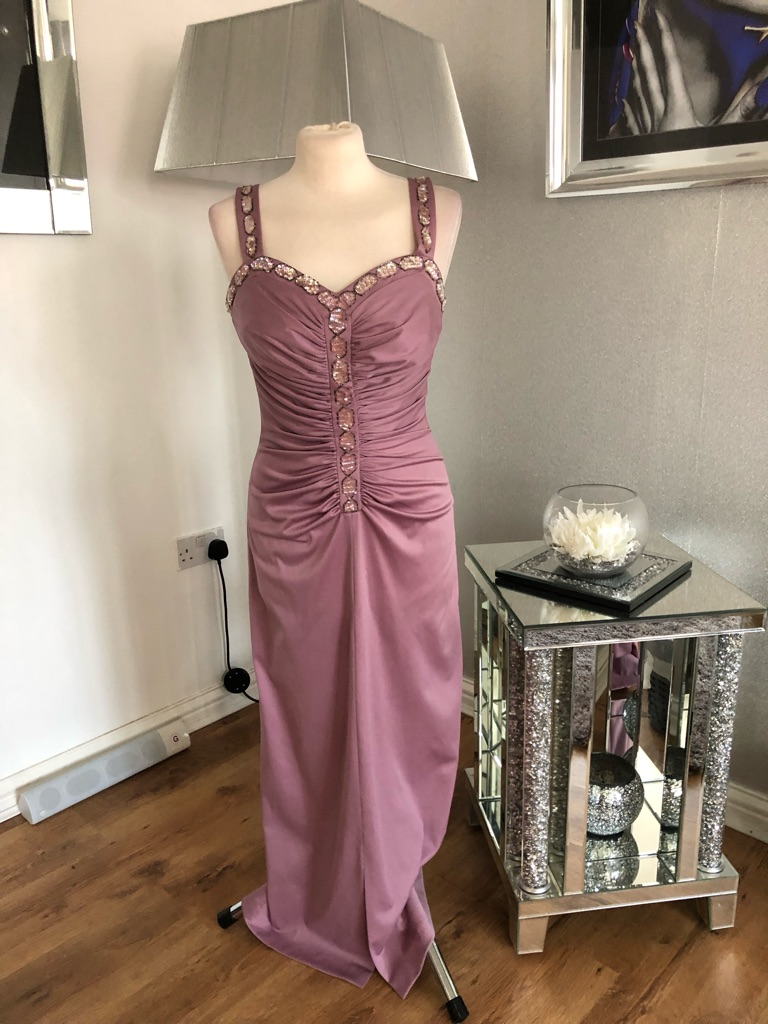 Women's dusky pink vintage maxi dress size 14
