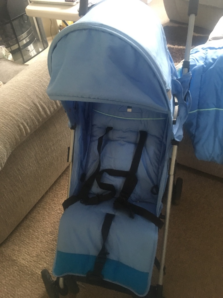 Blue stroller nearly new