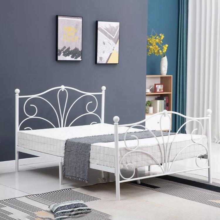 White Iron Double Bed Frame