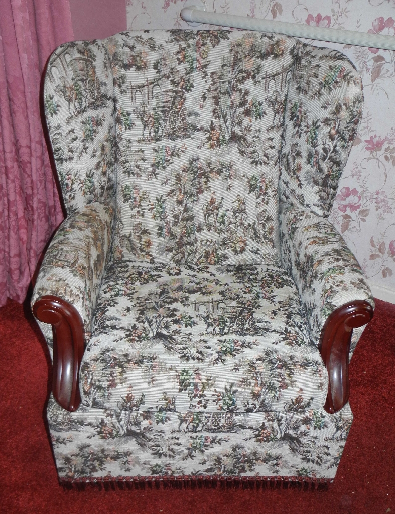 3 Piece Wing Back Sofa Chairs - For Refurbishment/ Upholstery Project