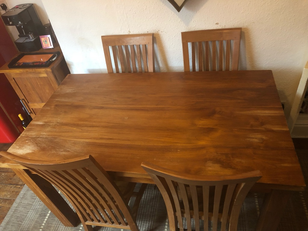 Material: 100% solid teak Dining Room Table, Chairs, Drinks Cabinet and Kartini Stool - Honey