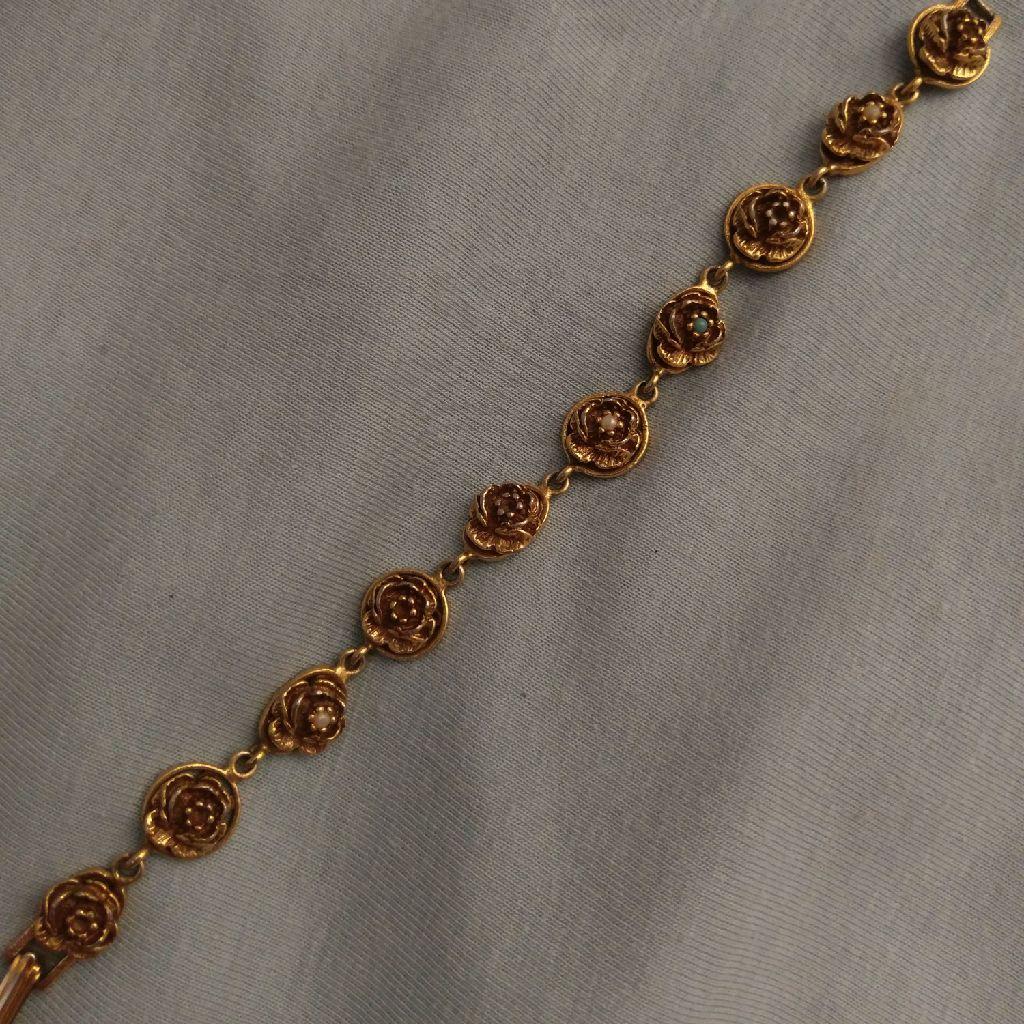 vintage gold rose bracelet