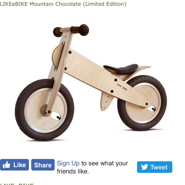 Like A Bike wooden balance bike mountain Chocolate