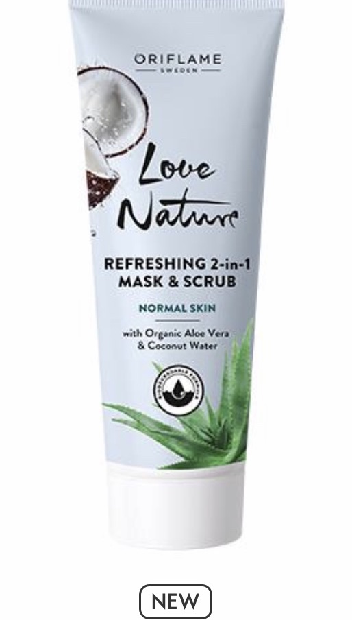 Refreshing 2-in-1 Mask & Scrub with Organic Aloe Vera & Coconut Water