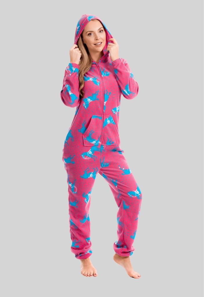 Pink Horse Print All In One Onezee Fleece Hooded Pyjama Set