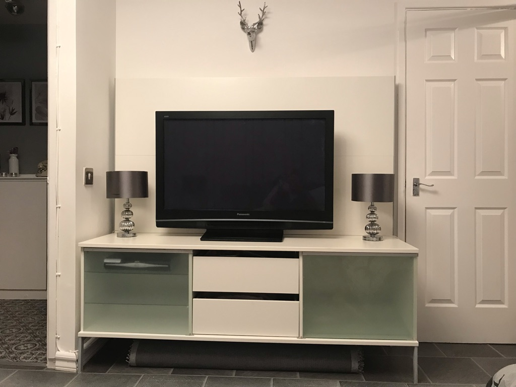 White very large high back tv unit