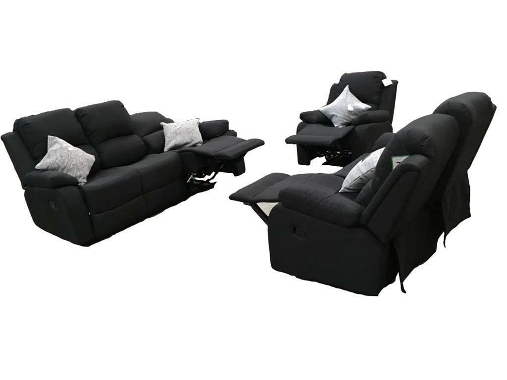 RECLINER BLACK SOFA FAUX LEATHER 3+2+1 finance is available