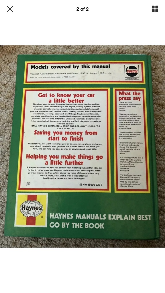 HAYNES OWNERS WORKSHOP MANUAL FOR A VAUXHALL ASTRA