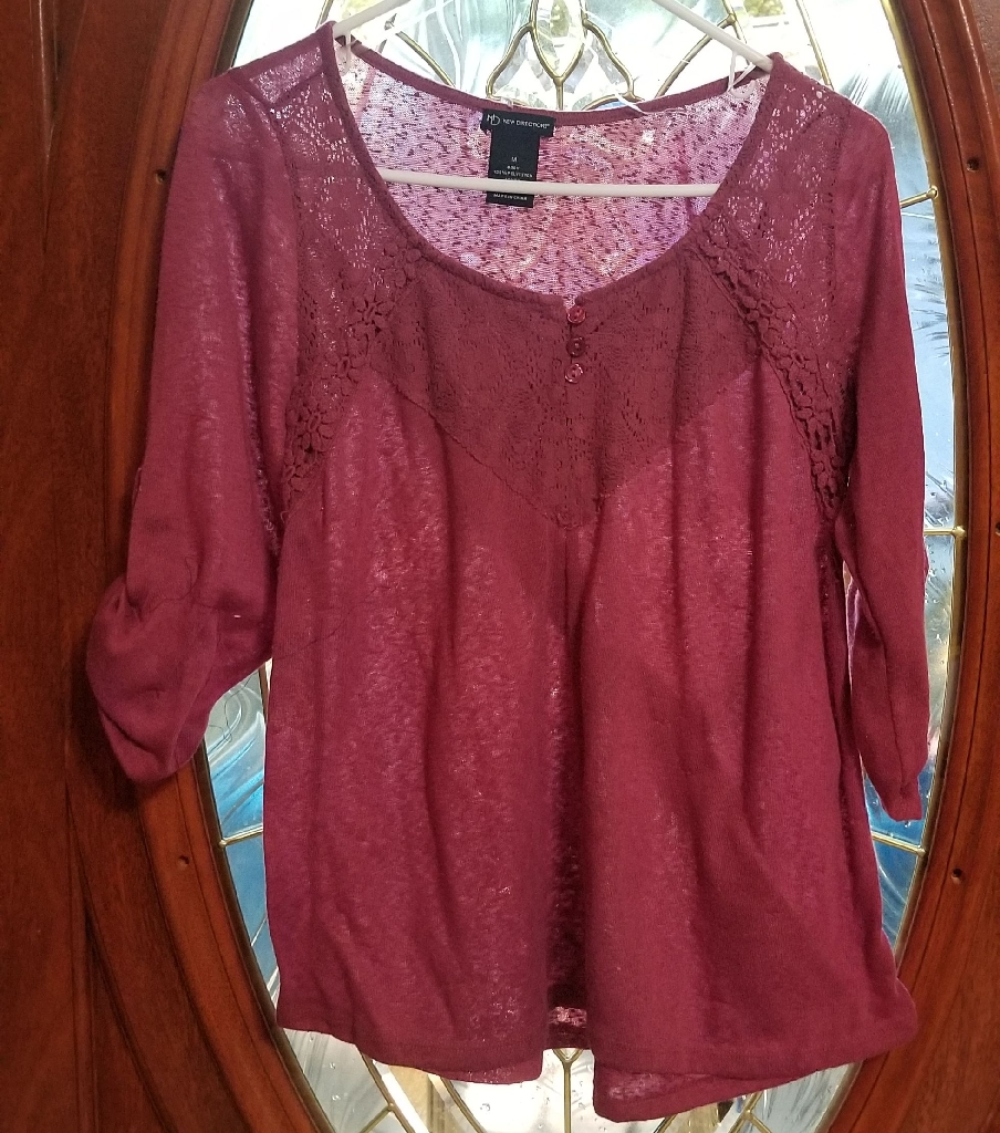 Maroon Long-Sleeved Shirt (Size M) [New Directions