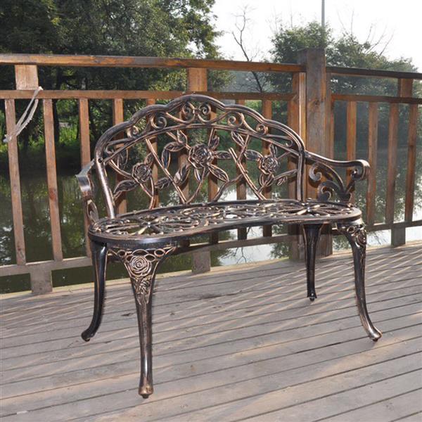 "38.5"" Cast Aluminum Outdoor Courtyard Decoration Park Leisure Rose Chair"