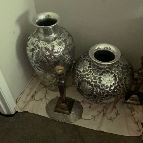 Silver large vases