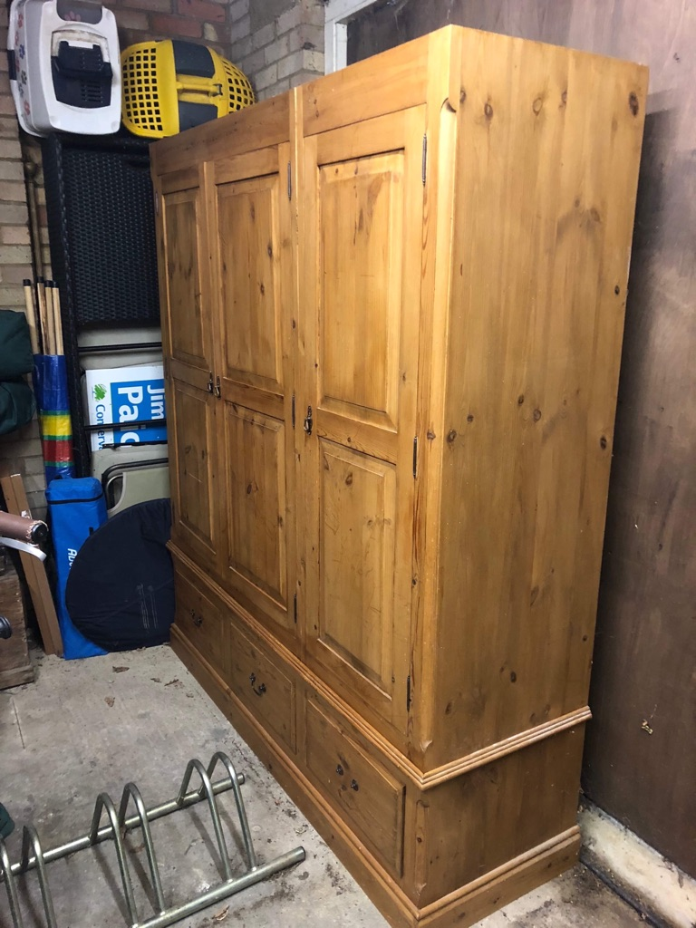 Triple solid wood wardrobe with drawers