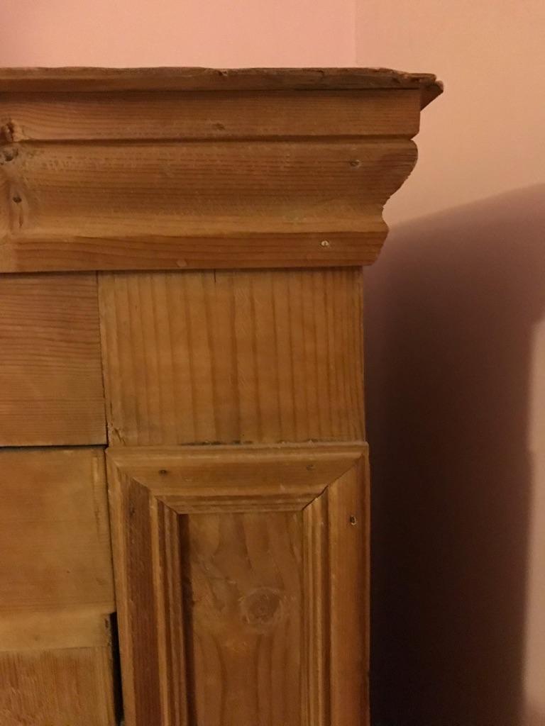 Antique pine wardrobe with mirror