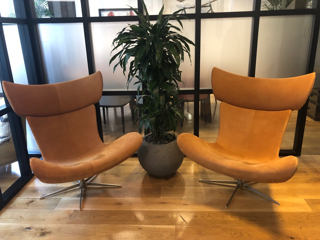 Imola chair with swivel function, caramel Colorado leather x2