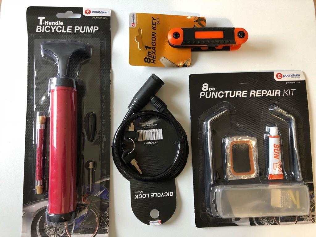 Bike pump, lock, Repair Kit And Hexagon key