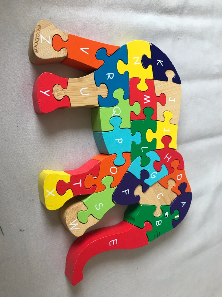 Alphabet wooden elephant