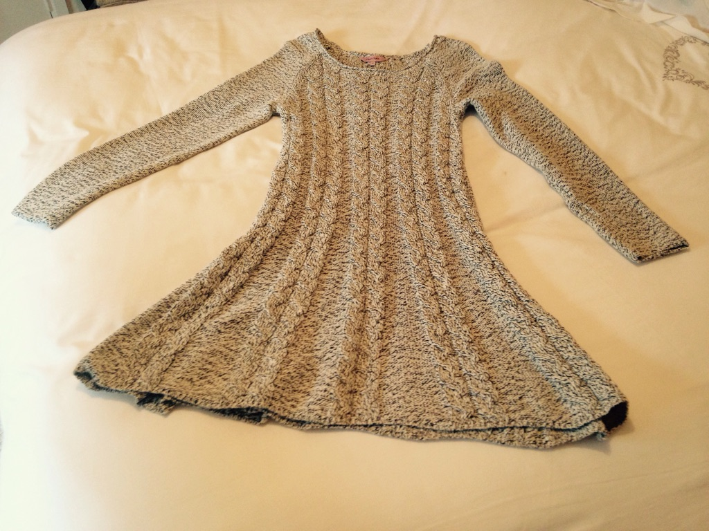 New cable knit cotton dress with yolk neck