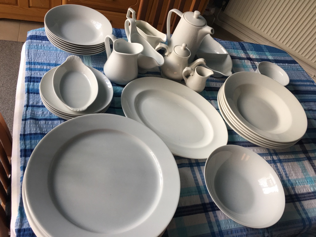 Selection of white china...ideal for dinner parties