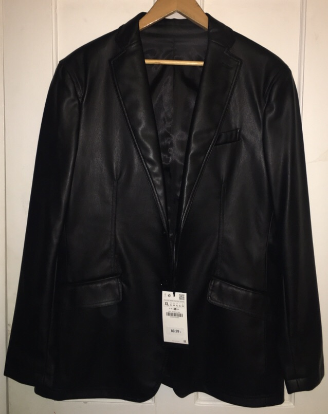 Zara men Black leather Blazer, with the tags, RRP £89.99 Never been worn