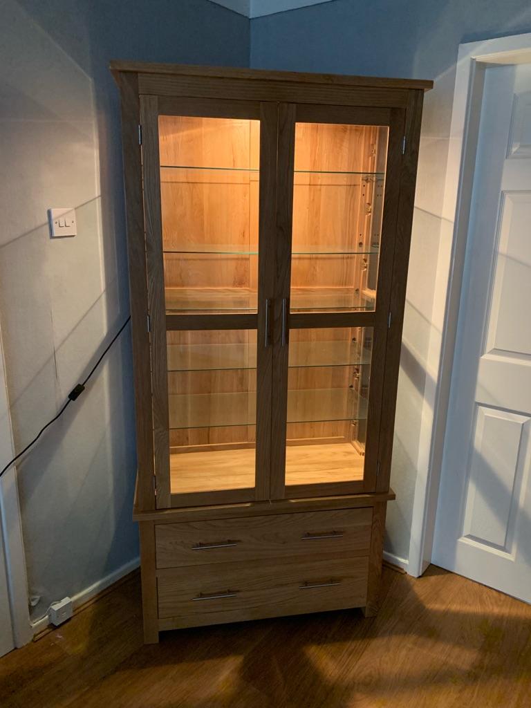 Oak glass wooden cabinet