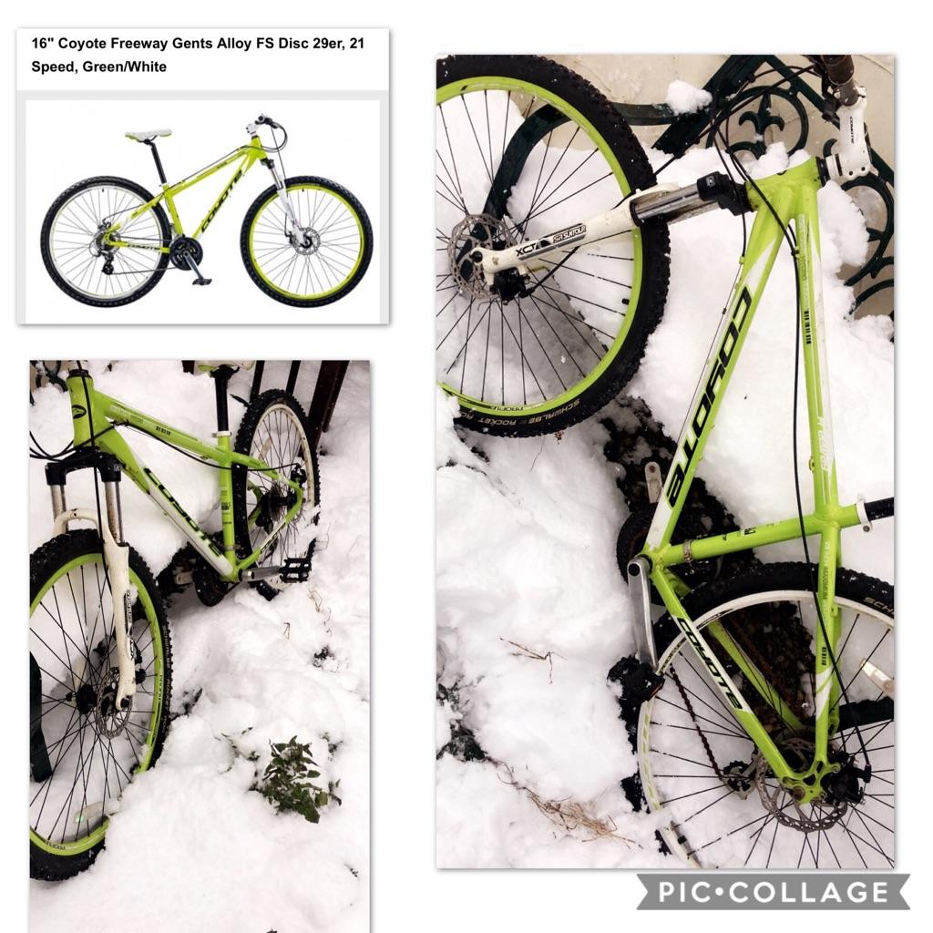 Green and white Coyote Mountain bike.