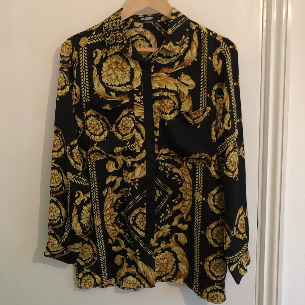 Black blouse with Versace style print - UK size 8