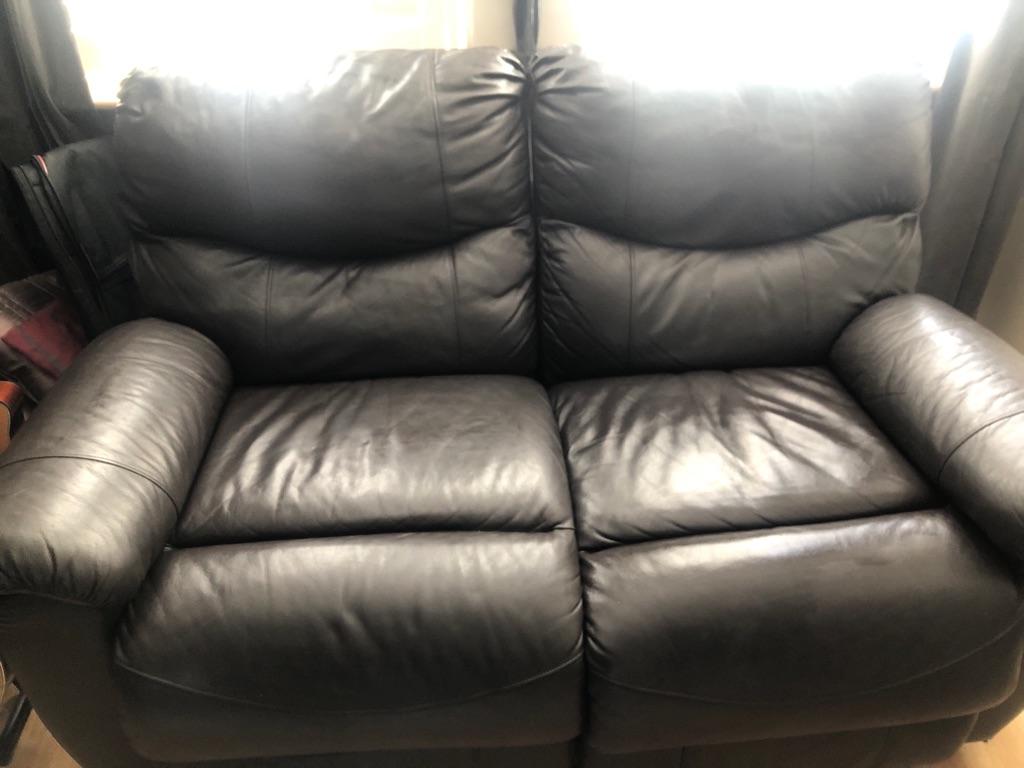 Chocolate brown leather sofa