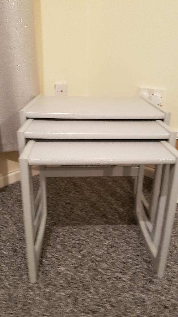 Shabby chic grey nest of tables