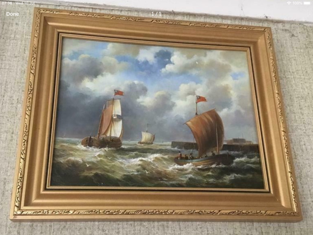 Antique oil painting on board sailing boats H13in W11