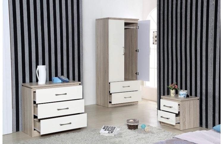 High Gloss 3 Piece Bedroom Furniture Set - 2 Drawer Wardrobe, 3 Drawer Chest, Bedside Cabinet (Cream/Oak)