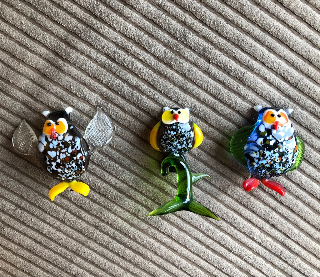 3 delicate glass owls