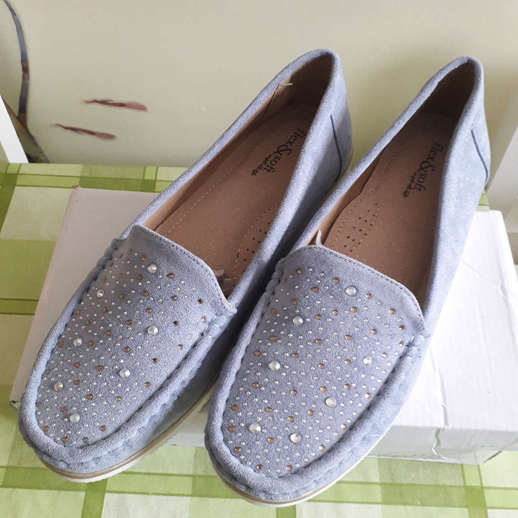 Fkex & Soft Wide Fit Diamante Trim Mock Suede Loafer