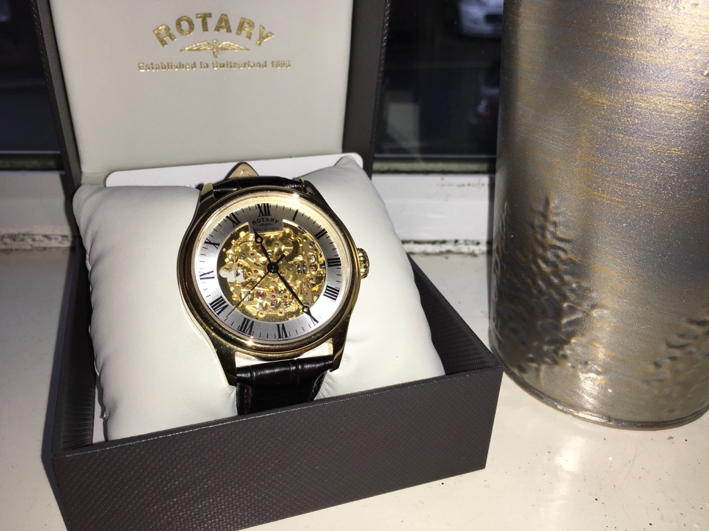 Rotary gold plated skeleton automatic watch