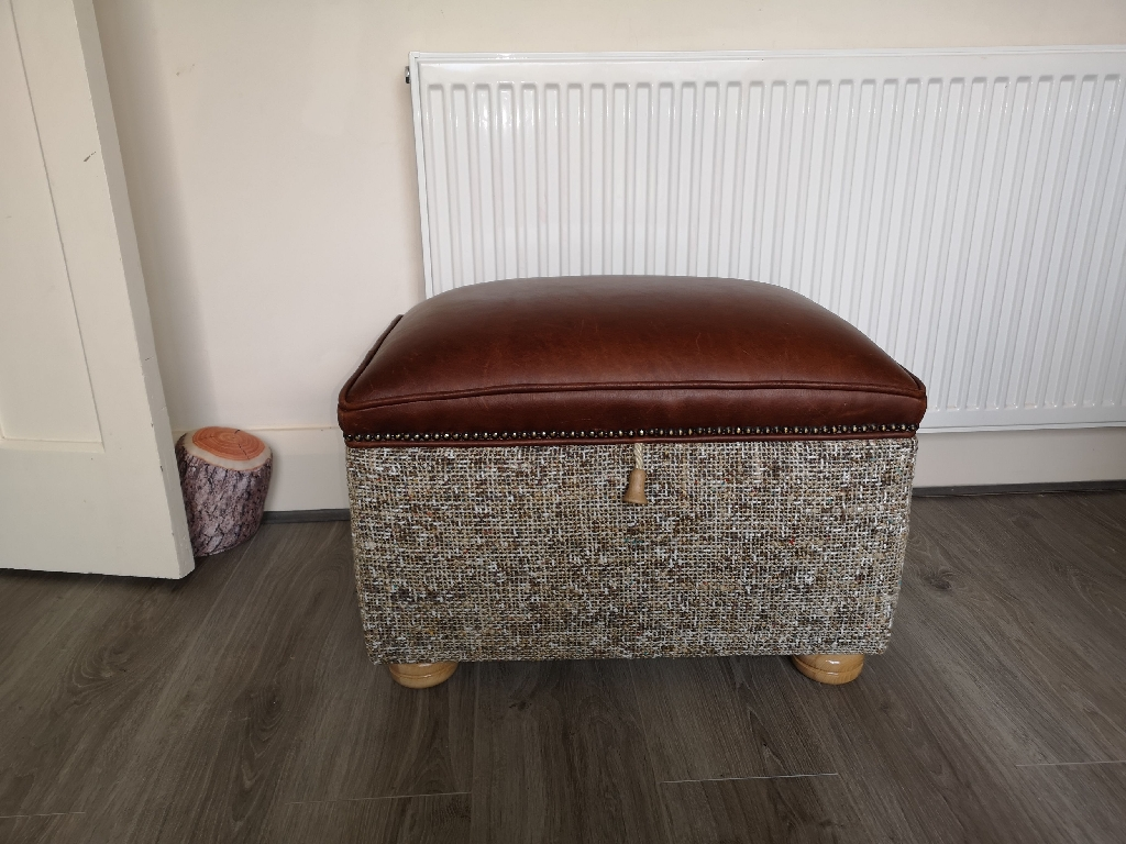 Brown leather stool with storage