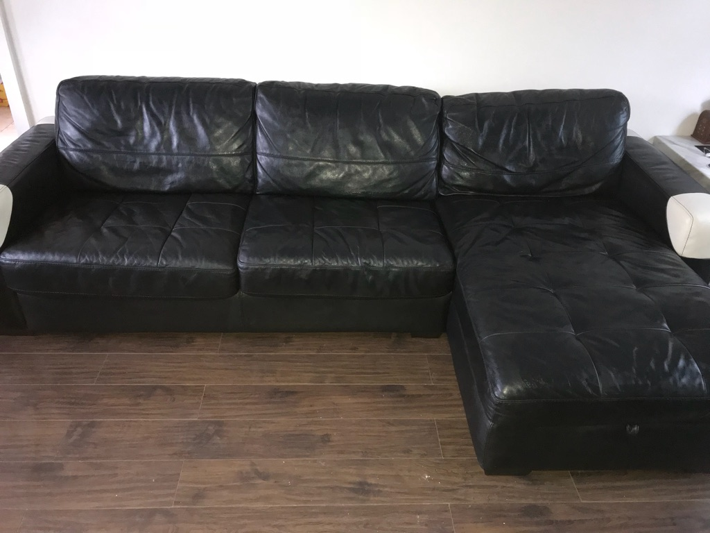 Leather sofa bed and chair