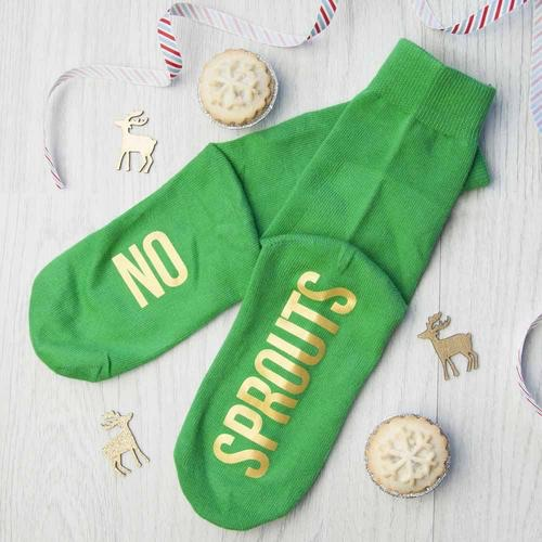 Personalised kids sprout green and canary yellow Christmas Day socks