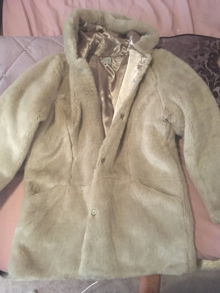 Cream Hooded Faux Fur Coat for Sale