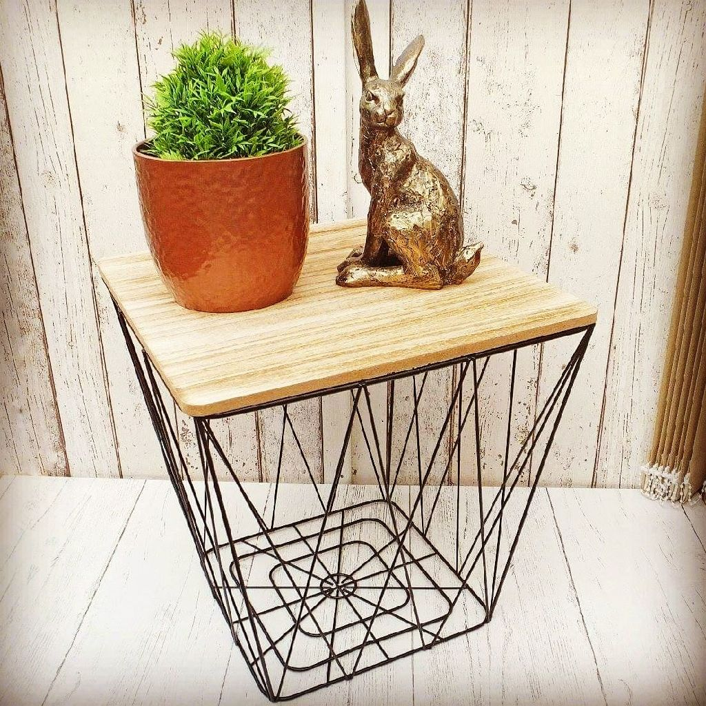 Geometric Wire Square Side Table