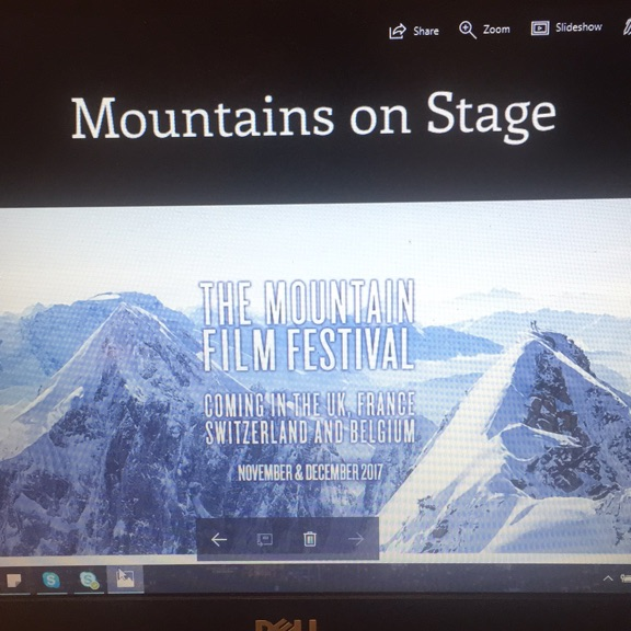 1 ticket for the Mountains on stage festival- Monday November 27 at 7pm at London Empire Haymarket