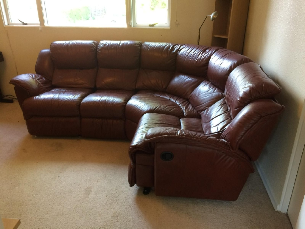 REAL LEATHER CORNER SUITE RECLINING CHAIR
