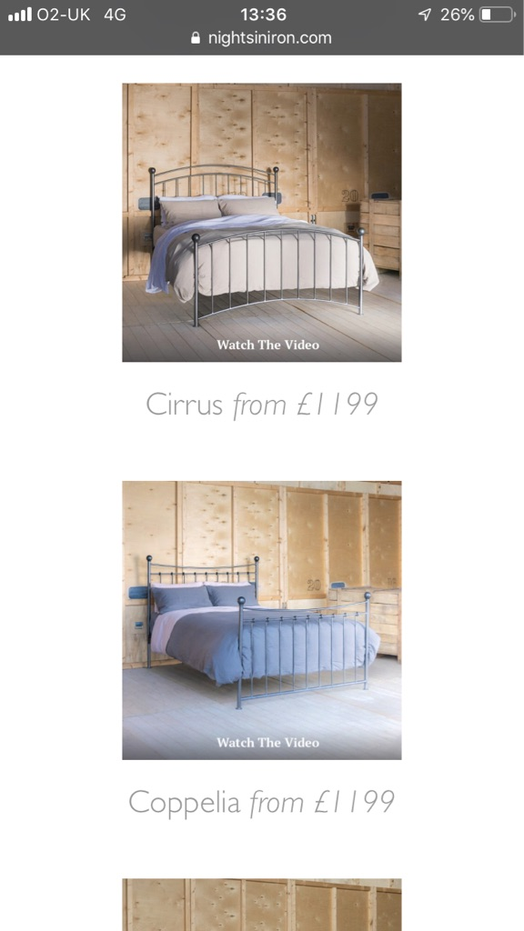 Kingsize Nights in iron bed frame and bedside tables