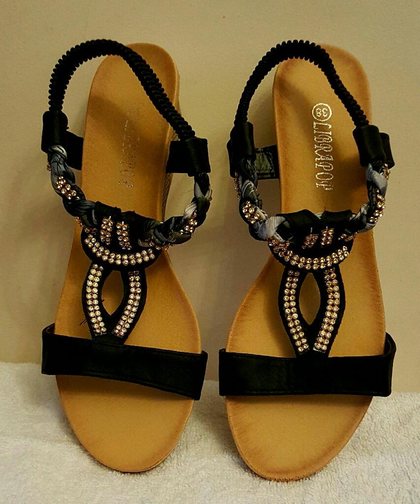 wedge black Diamante summer sandals