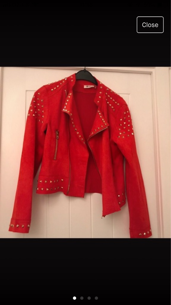 Ladies Red Swede Studded Jacket